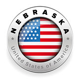 Nebraska Usa flag badge button