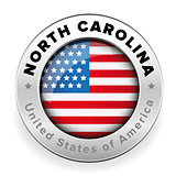 North Carolina Usa flag badge button