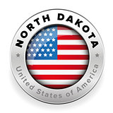 North Dakota Usa flag badge button