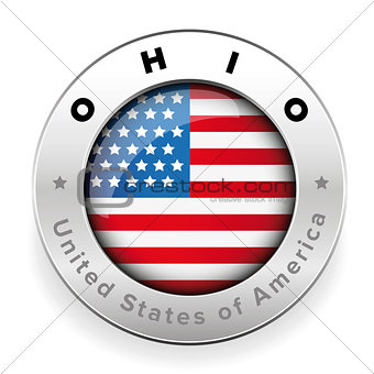 Ohio Usa flag badge button