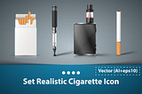 Set cigarette electronic icon.