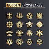 Golden Snowflakes Icons Set