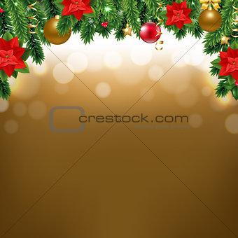 Christmas Border With Poinsettia And Fir Tree