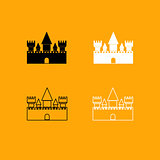 Castle black and white set icon.