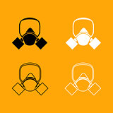 Gas mask black and white set icon.