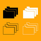 Folders black and white set icon.