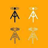 Radio tower black and white set icon.