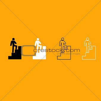 A man climbing stairs black and white set icon.