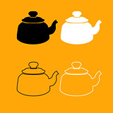 Teapot black and white set icon.