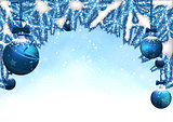 Christmas Background with Baubles and Coniferous Branches