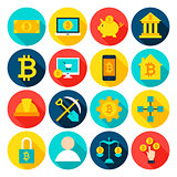 Cryptocurrency Bitcoin Flat Icons