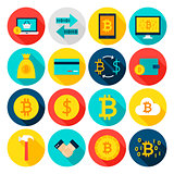 Currency Bitcoin Flat Icons