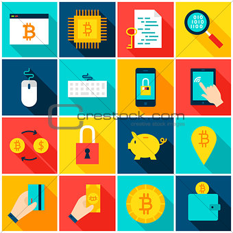 Bitcoin Cryptocurrency Colorful Icons