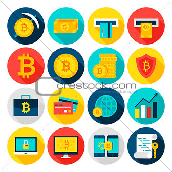 Bitcoin Currency Flat Icons