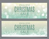 Abstract Vector Illustration Christmas Sale, Special Offer Background with Gift Box and Snow. Winter Hot Discount Card Template