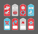 Christmas gift tags set with hand drawn stickers.
