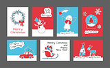 Set of Merry Christmas and Happy New Year cards