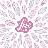 Typography poster lettering love and feathers