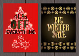 Set of posters or flyers for Christmas and New Year sales and promotions