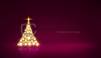 Glowing Christmas tree with star isolated. Christmas background.