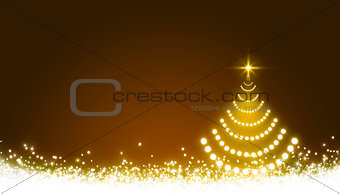 Glowing Christmas tree with star and snow. Christmas background.