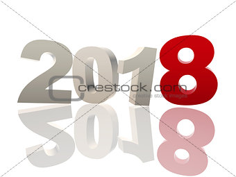 3d new year 2018 in red and grey figures