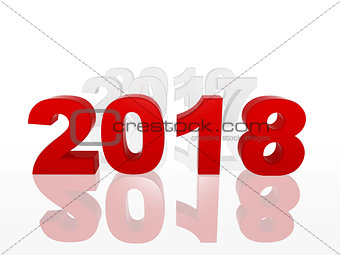 3d new year 2018 in red figures with preceding years