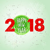 happy new year 2018 over green old paper background with snowfla