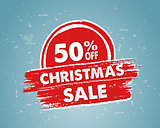 50 percent off christmas sale in red drawn banner