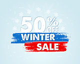 50 percent off winter sale in blue drawn banner