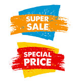 super sale and special price in drawn banner