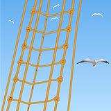 Seagulls and rope on blue sky Vector