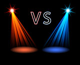 Red and blue volume light on black Versus battle futuristic screen Vector