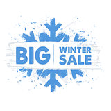 big winter sale in blue drawn banner with snowflake