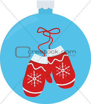illustration pair knitted christmas mittens. Christmas greeting card with mittens