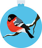 bullfinch bird illiustration in blue christmas-tree ball