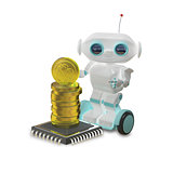 3D Illustration Robot and Bitcoins