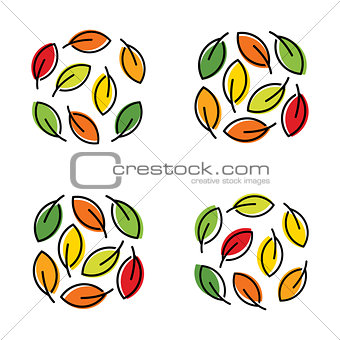 Autumn colorful bright leaves vector abstract logo. Autumn design template.