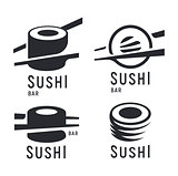 Sushi and roll with chopsticks on white background, black vector logo template. Monochrome japanese cuisine icons set.