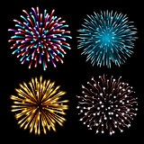 Set of colorful fireworks.