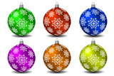 Colored christmas balls with snowflakes