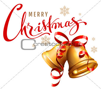 Merry Christmas calligraphy text. Golden bell with red ribbon symbol accessory christmas