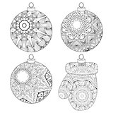 Zentangle stylized Christmas decorations. Hand Drawn lace vector illustration