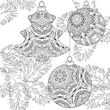 Zentangle stylized Christmas decorations with spruce branches. Hand Drawn lace vector illustration