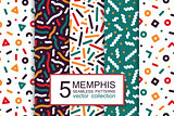 Collection of colorful seamless patterns - memphis design. Fashion 80-90s. Abstract trendy vector backgrounds
