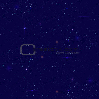 Night starry sky seamless background. Small distant star shines on dark sky