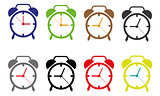 vector Time Clock Icons, Illustration of isolated alarm clocks on white