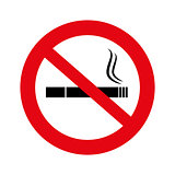 No smoke illustration, vector, No smoking sign isolated on white,