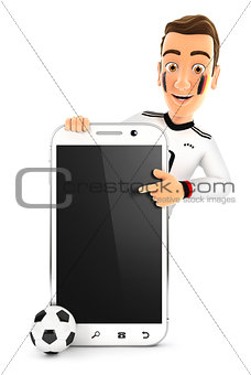 3d german soccer fan pointing to blank smartphone