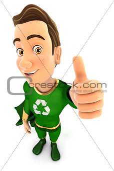 3d green hero positive pose with thumb up